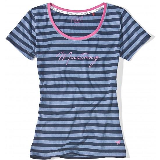 Dámske modré pásikavé tričko s krátkym rukávom Juliette MUSTANG