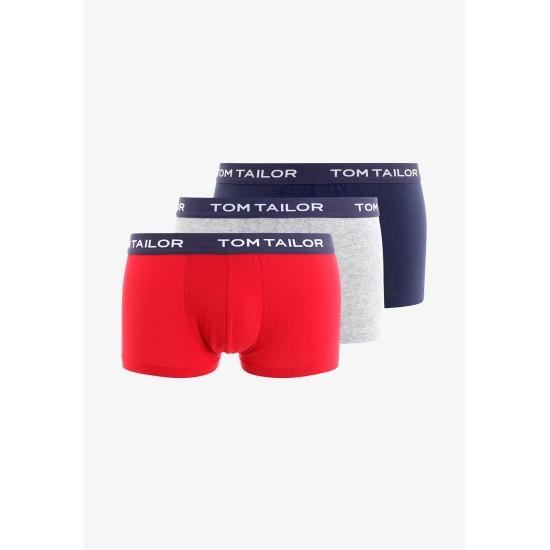 Trojbalenie pánskych boxeriek (červená / šedá / tmavomodrá) TOM TAILOR